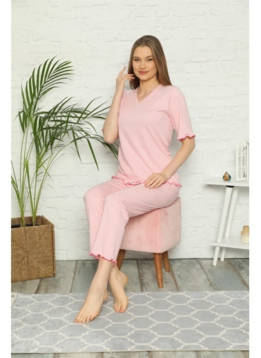 Akbeniz Kadın %100 Pamuk Penye Kısa Kol Pijama Takım 3305 Pembe